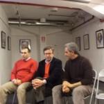 Gino Iacono, Alfonso Arpino e Giuseppe Fortunato alla presentazione alla Feltrinelli di Napoli