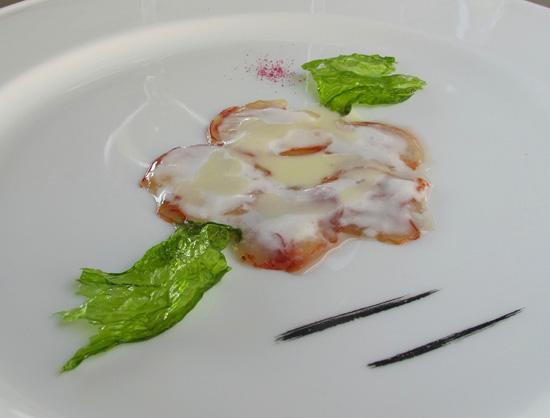 Carpaccio d'astice al gorgonzola di Davide Scabin