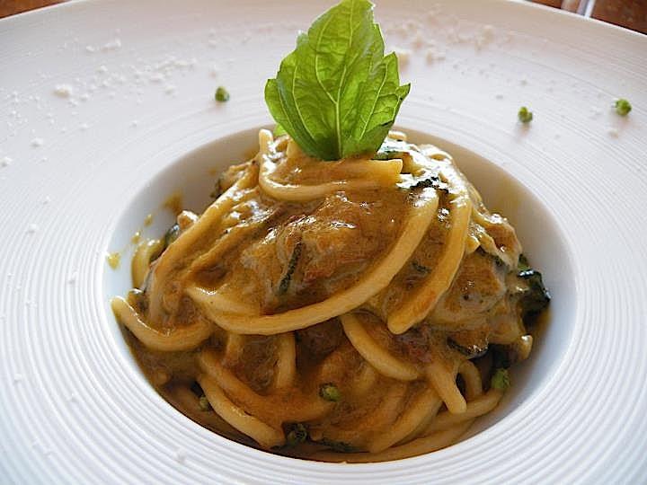 Spaghetti con le zucchine di Alfonso Caputo (Foto Marina Alaimo)