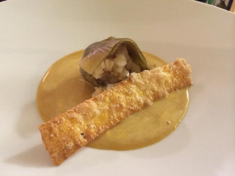 Osteria del Taglio, il carciofo alla vaniglia con mela annurca e crema inglese