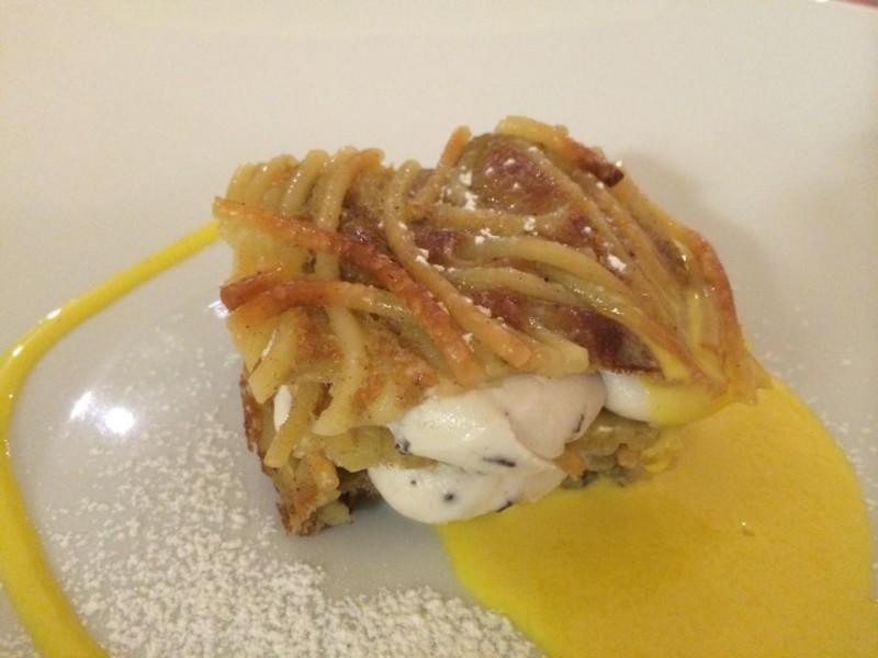 Osteria del Taglio, millefoglie di spaghetti