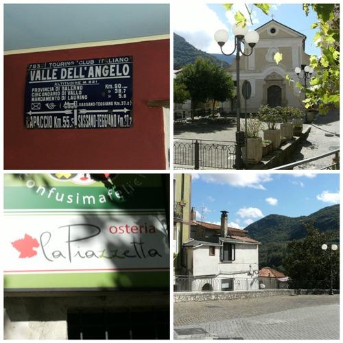 Valle dell'Angelo: vecchia indicazione stradale, Chiesa di San Barbato, insegna Osteria La Piazzetta