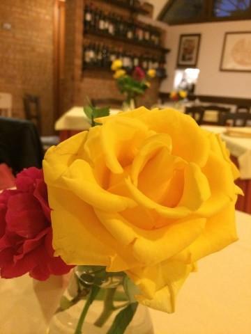 Cantina del Vescovo, rose fresche ai tavoli