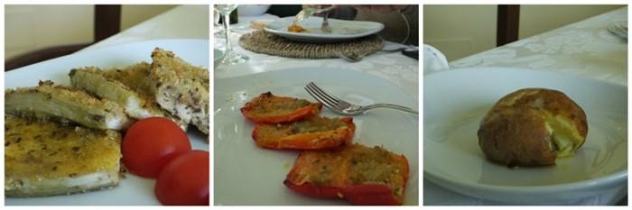 Agriturismo La Villa, gli antipasti caldi: melanana panata all'origano, peperonni gratinati all'acciuga e patata alla brace