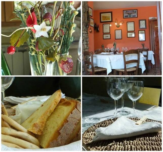 Agriturismo La Villa, l'addobbo della tavola, una parte della sala, il pane e i taralli e la mise en place