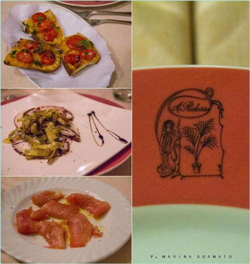 Bruschette con Pomodorino Datterino e Carpaccio di Polpo di Torregaveta con Carciofi