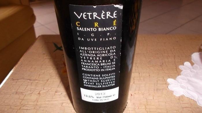 Controetichetta Crè Salento Fiano Igt 2013 Vetrére