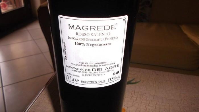 Controetichetta Magredé Rosso Salento Igp 2010 Dei Agre
