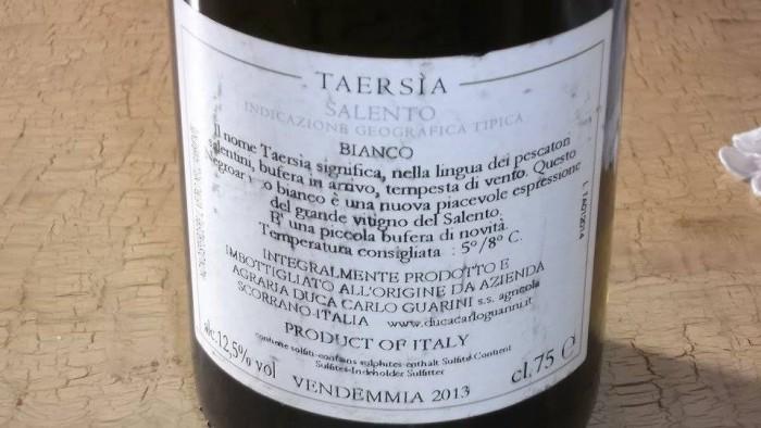 Controetichetta Taersìa Salento Bianco Igt 2012 Duca Carlo Guarini