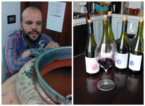 Francesco Cirelli e alcuni vini degustati