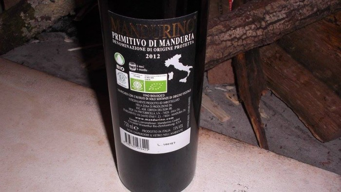 Controetichetta Mandurino Primitivo di Manduria Dop 2012 Cerfeda dell'Elba