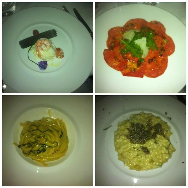 la cena a I 4 Passi a Londra, alcuni dei piatti proposti