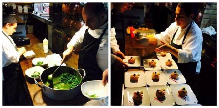 la degustazione di Chardonnay di Assoenologi Campania, alcuni momenti della preparazione della cena