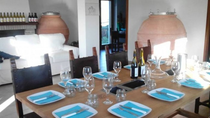 la tavola preparata per la degustazione dei vini