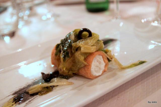 Taverna Scacciaventi Angelo Borghese Cannolo di frolla salata con ricotta di bufala baccala e scarola