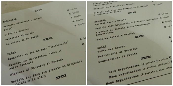 Boda de Ciondro, il menu