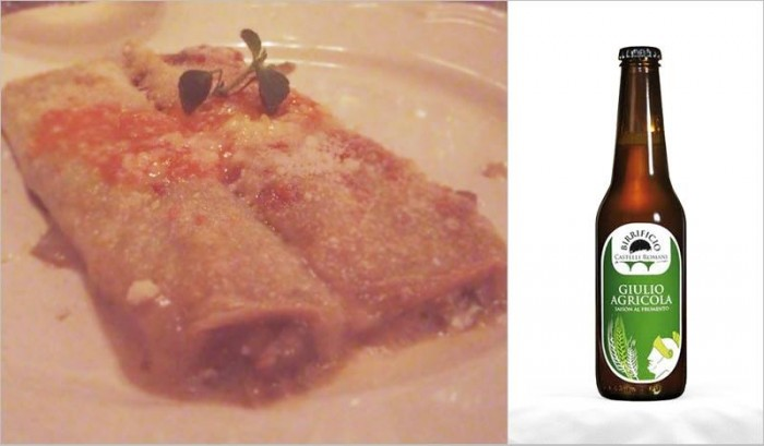 Cannelloni ripieni di carciofi, mentuccia e fonduta di zucca abbinati alla birra Giulio Agricola