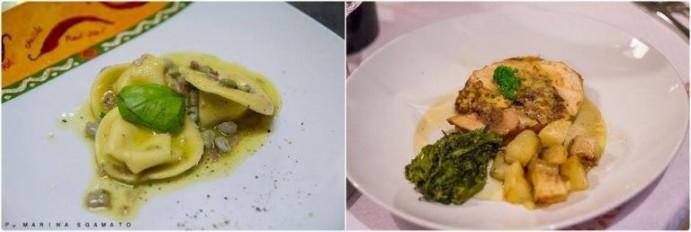 Cappelletti ripieni di pecorino, con Fave Baiane fresche e pancetta, U pullast' mbuttunat con patate e friarielli
