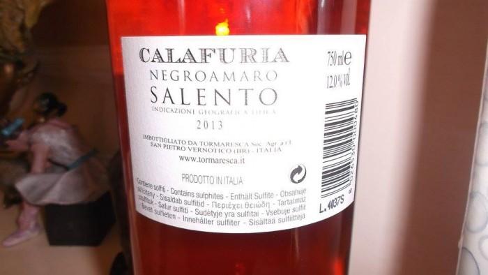 Controetichetta Calafuria Salento Igt Rosato 2013 Tormaresca