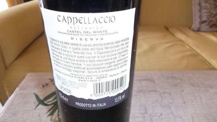 Controetichetta Cappellaccio Aglianico Riserva Casrel del Monte Doc 2008 Rivera