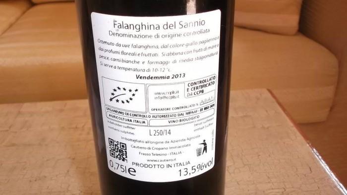 Controetichetta Fois Falanghina del Sannio Doc 2013 Cautiero