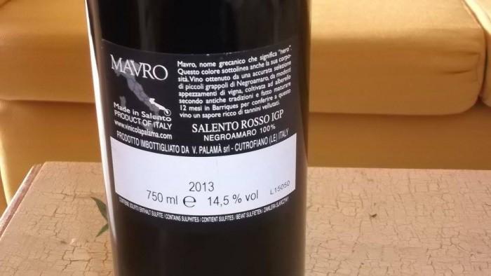 Controetichetta Mavro Salento Rosso Igp 2013 Palamà