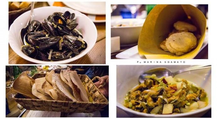 Cozze stufate alla maniera di Apicio, pasta cresciuta con acqua di Cicerchia e Melannurca, pane pita, insalata con Cozze e Melannurca