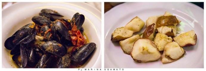 Crostone di Pan di Cicerchia Flegrea  con zuppetta di Cozza, accompagnata da Melannurca al forno con aromi ed olio extravergine d'oliva