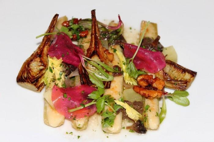 Dinner, Braised Celery (c.1730) Parmesan, girolles, vinaigrette, cider apple & smoked walnuts