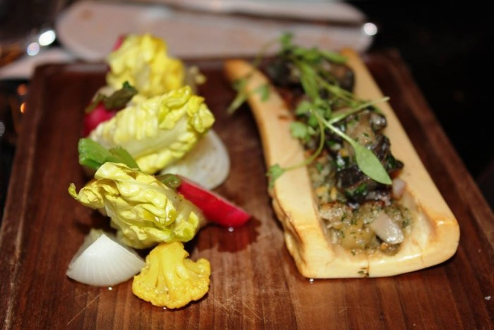 Dinner, Salamagundy (c.1720) Chicken oysters, salsify, marrow bone & horseradish cream