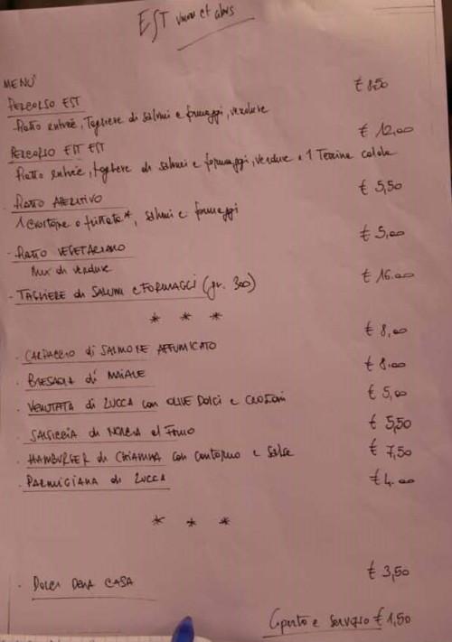 Est, il menu