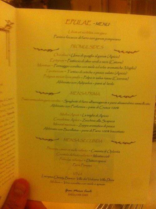 Il Principe, il menu