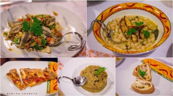 Insalata di farro con broccoli, papaccelle ed Alici alla scapece, Zuppetta di Fagioli Dente di Morto di Acerra,  Tortino di salsiccia, verza e castagne, Tortano