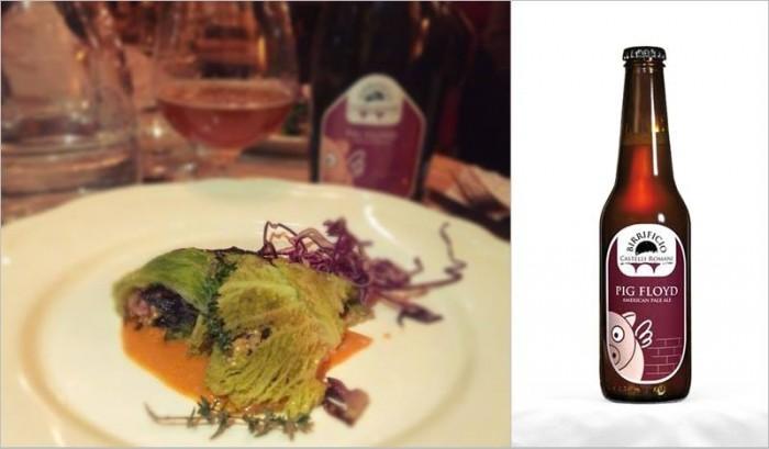 Involtini di verza ripieni di quinoa e radicchio su crema di peperoni e timo abbinati alla birra Pig Floyd