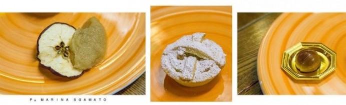 Melannurca grattugiata con cannella su fettina disidratata del frutto_ Crostata di Cicerchia Pralina alla Cozza
