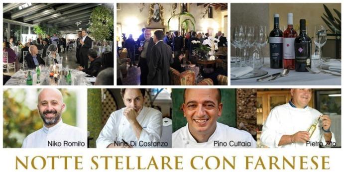 Notte Stellare con Farnese, Alessandro Benetton, Villa Del Quar e alcuni dei vini in degustazione