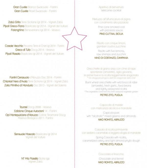 Notte Stellare con Farnese, il menu
