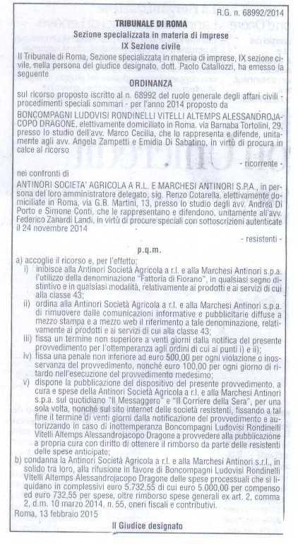 Ordinanza Tenuta di Fiorano vs Fattoria di Fiorano pubblicata su Il Corriere della Sera del 24 Marzo 2015