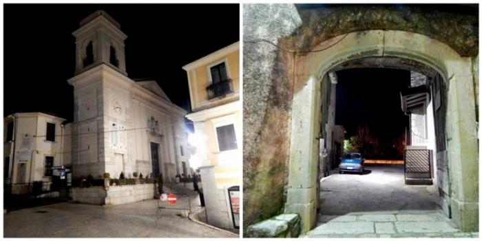 Pietrelcina, la Chiesa di Padre Pio e un arco del centro storico