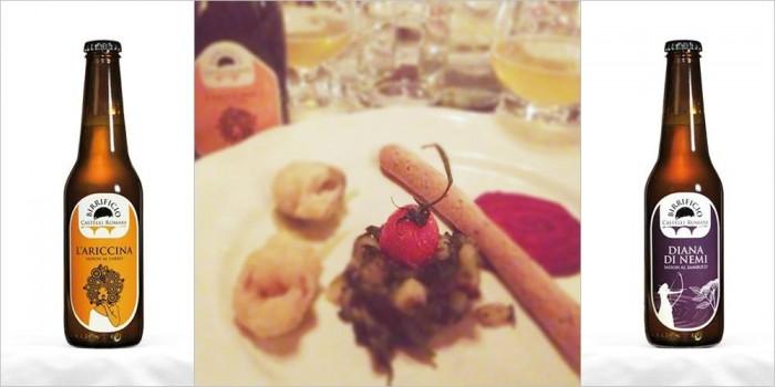 Polpetta di lenticchie su crema di broccoli e sformatino di patate e ramoracce in abbinamento alle birre Ariccina e Diana di Nemi