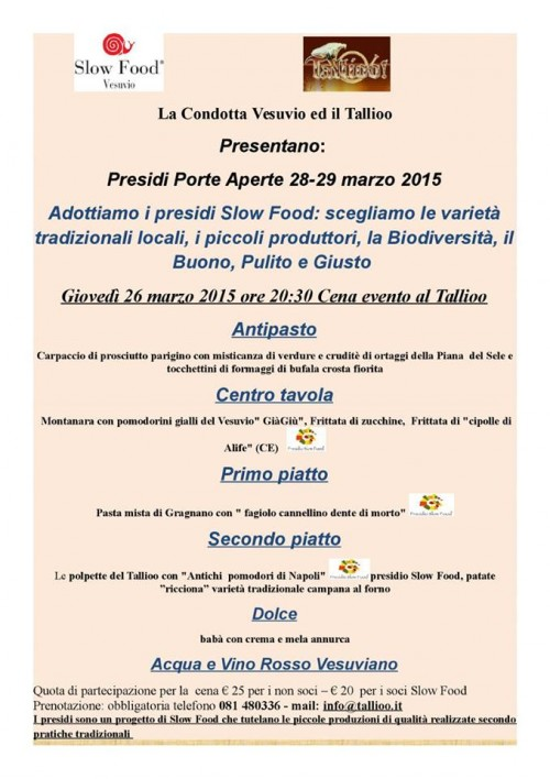 Presìdi Porte Aperte con Slow Food Vesuvio al Tallioo
