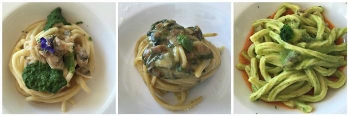 Taverna del Capitano, spaghettone alla carbonara e vongole, spaghetti alla Nerano e pasta con broccoli su ragù di cernia