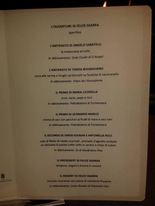 Umami, il menu della serata