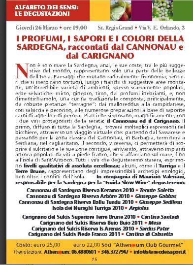 degustazione di Cannonau e Carigano con Athenaeum Ateneo dei Sapori di Roma