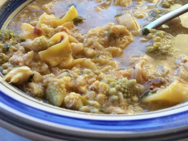Osteria Palmira, minestra di broccolo e arzilla