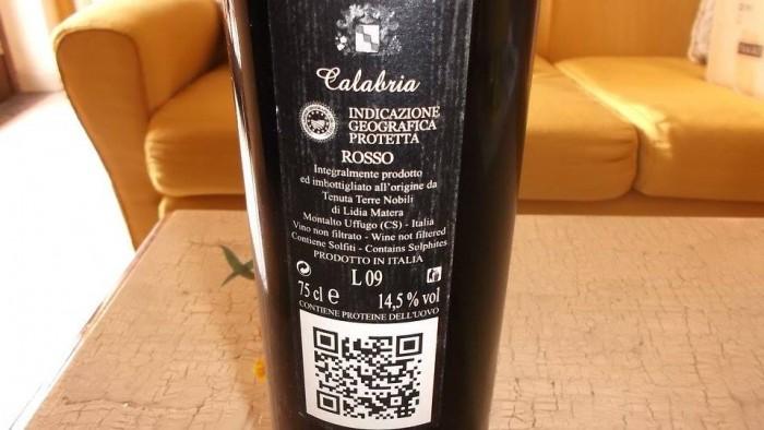 Controetichetta Cariglio Rosso Calabria Igp 2012 Tenuta Terre Nobili