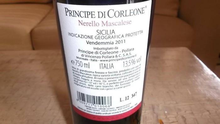 Controetichetta Nerello Mascalese Sicilia Igp 2011 Principe di Corleone