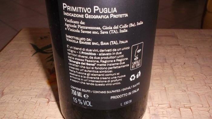 Controetichetta Sinergie dei Sensi Primitivo Puglia Igp