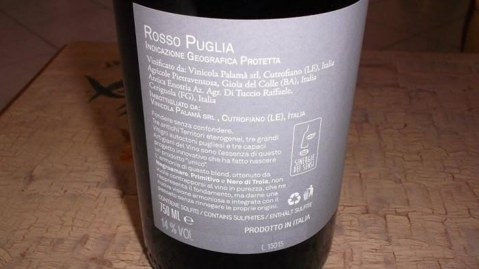 Controetichetta Sinergie dei Sensi Rosso Puglia Igp