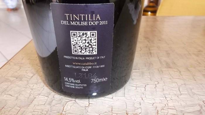 Controetichetta Tintilia del Molise Doc 2011 Catabbo